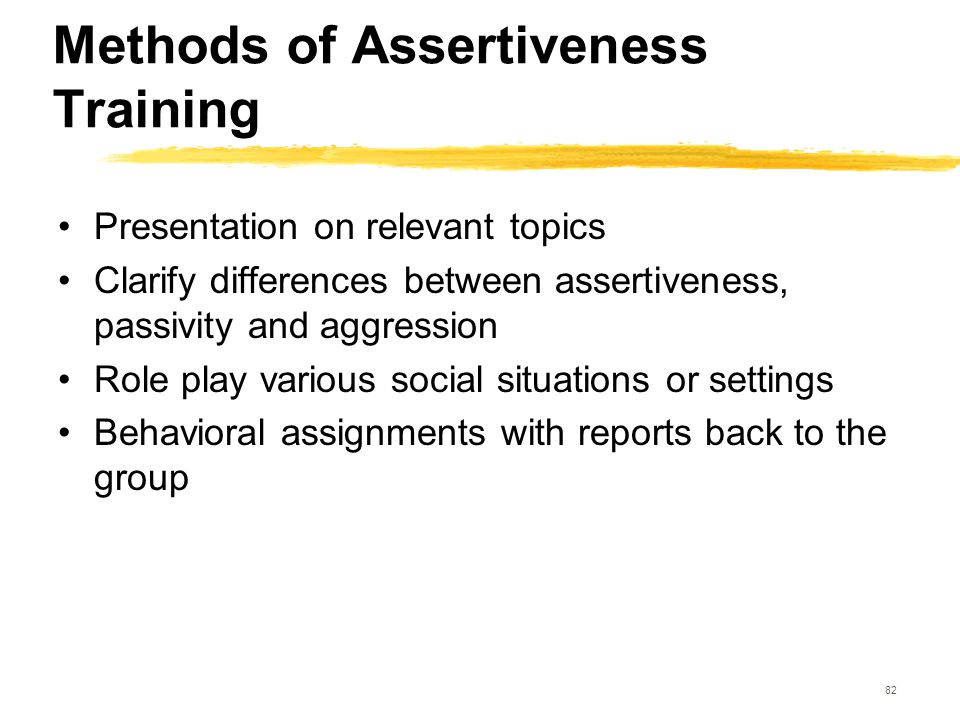 82 Methods of Assertiveness Training Presentation on relevant topics Clarify differences between assertiveness, passivity and aggression Role play var