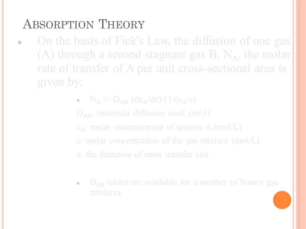On the basis of Fick's Law, the diffusion of one gas (A) through a second stagnant gas B, N A, the molar rate of transfer of A per unit cross-sectiona