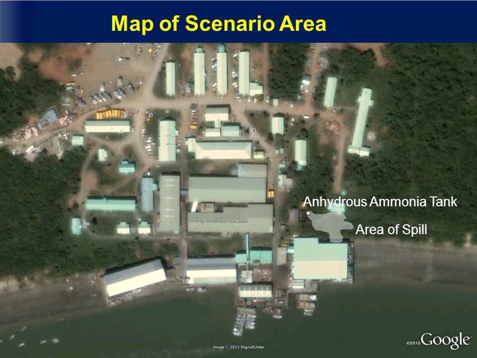 Map of Scenario Area Anhydrous Ammonia Tank Area of Spill