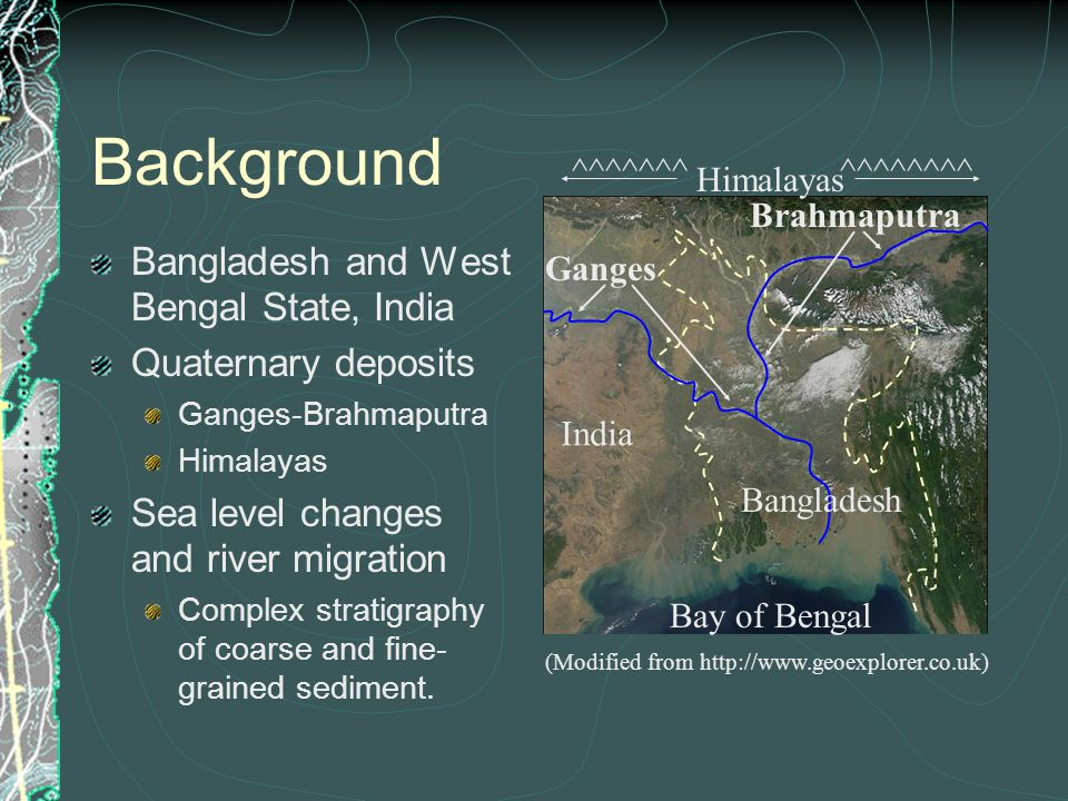 Background Bangladesh and West Bengal State, India Quaternary deposits Ganges-Brahmaputra Himalayas Sea level changes and river migration Complex stratigraphy of coarse and fine- grained sediment.