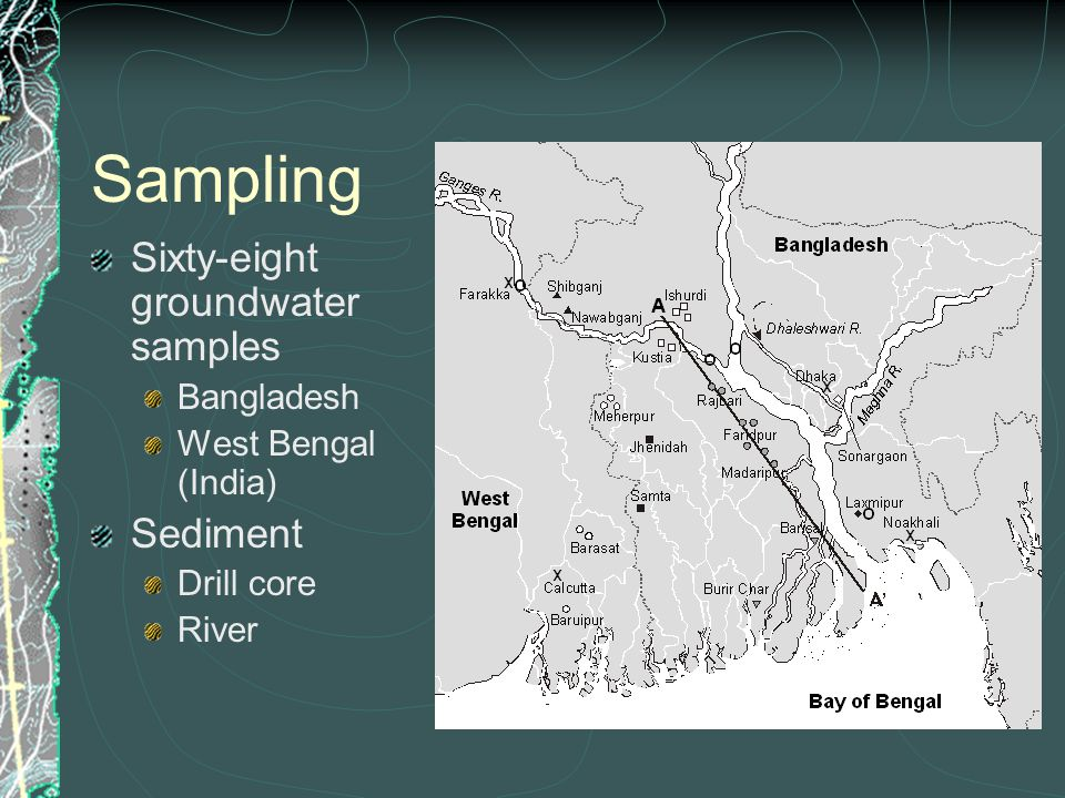 Sampling Sixty-eight groundwater samples Bangladesh West Bengal (India) Sediment Drill core River