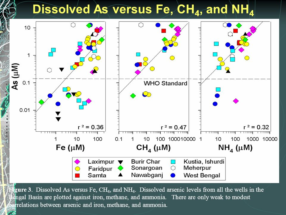 Figure 3. Dissolved As versus Fe, CH 4, and NH 4. Dissolved arsenic levels from all the wells in the Bengal Basin are plotted against iron, methane, a