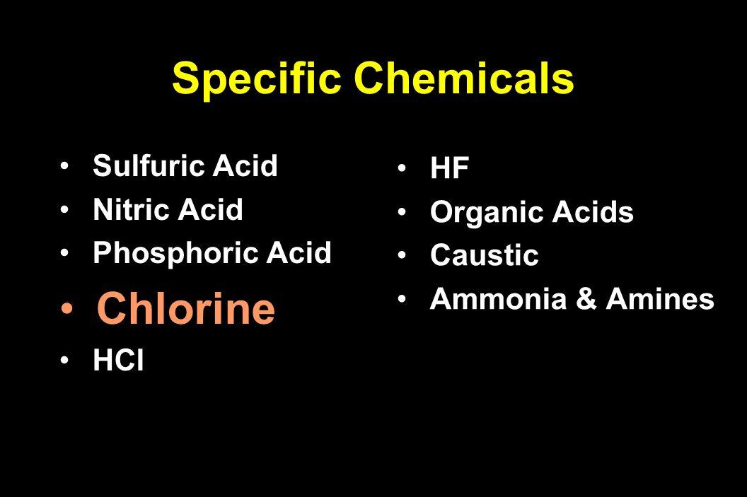 Sulfuric Acid Sulfuric Acid Nitric Acid Nitric Acid Phosphoric Acid Phosphoric Acid Chlorine HCl HCl HF HF Organic Acids Organic Acids Caustic Caustic