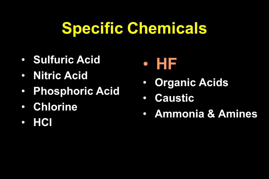 Sulfuric Acid Sulfuric Acid Nitric Acid Nitric Acid Phosphoric Acid Phosphoric Acid Chlorine Chlorine HCl HCl HF Organic Acids Organic Acids Caustic C
