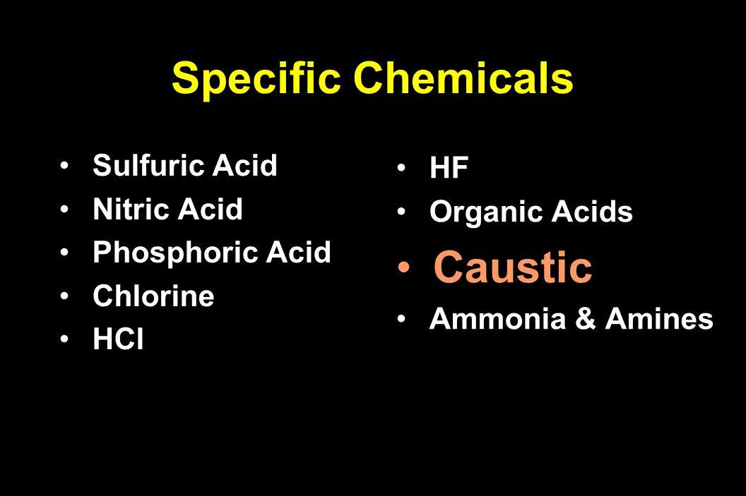 Sulfuric Acid Sulfuric Acid Nitric Acid Nitric Acid Phosphoric Acid Phosphoric Acid Chlorine Chlorine HCl HCl HF HF Organic Acids Organic Acids Causti