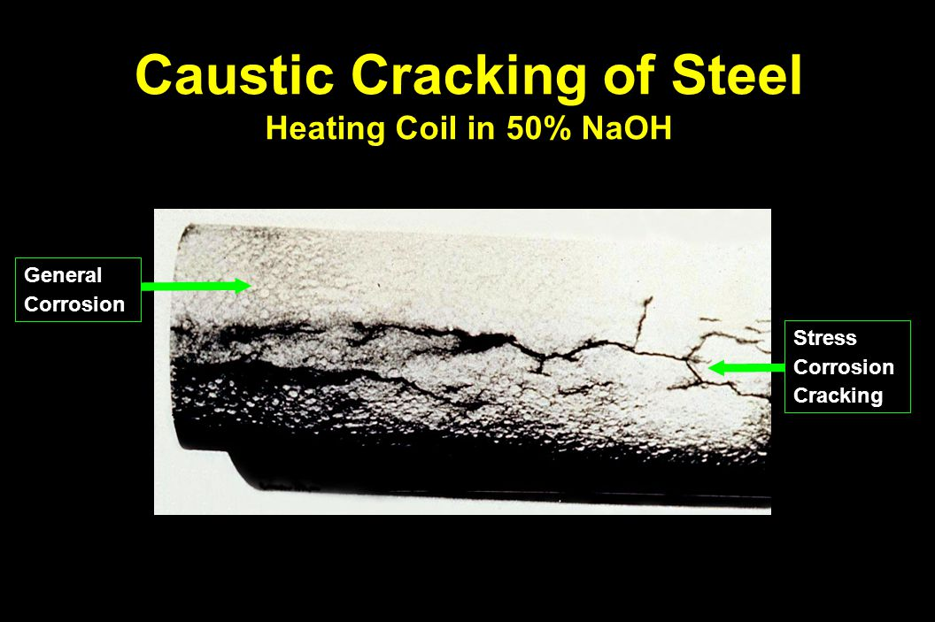 Caustic Cracking of Steel Heating Coil in 50% NaOH StressCorrosionCracking GeneralCorrosion