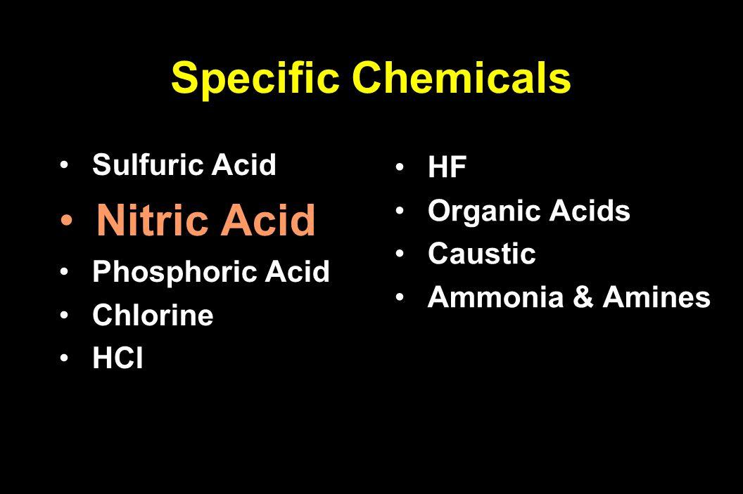 Sulfuric Acid Sulfuric Acid Nitric Acid Phosphoric Acid Phosphoric Acid Chlorine Chlorine HCl HCl HF HF Organic Acids Organic Acids Caustic Caustic Am
