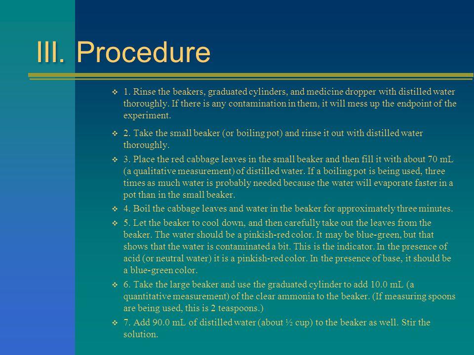 III. Procedure  1.
