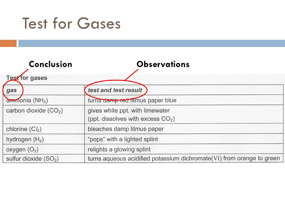 Test for Gases ObservationsConclusion