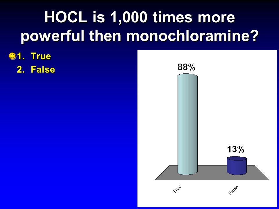 HOCL is 1,000 times more powerful then monochloramine? 1.True 2.False 1.True 2.False