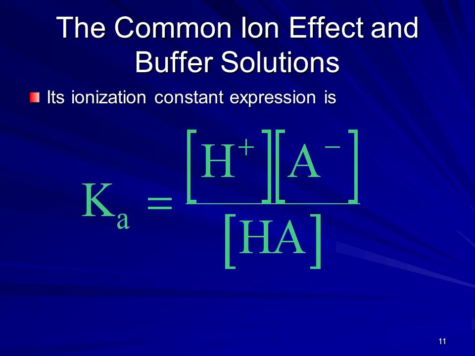 11 The Common Ion Effect and Buffer Solutions Its ionization constant expression is
