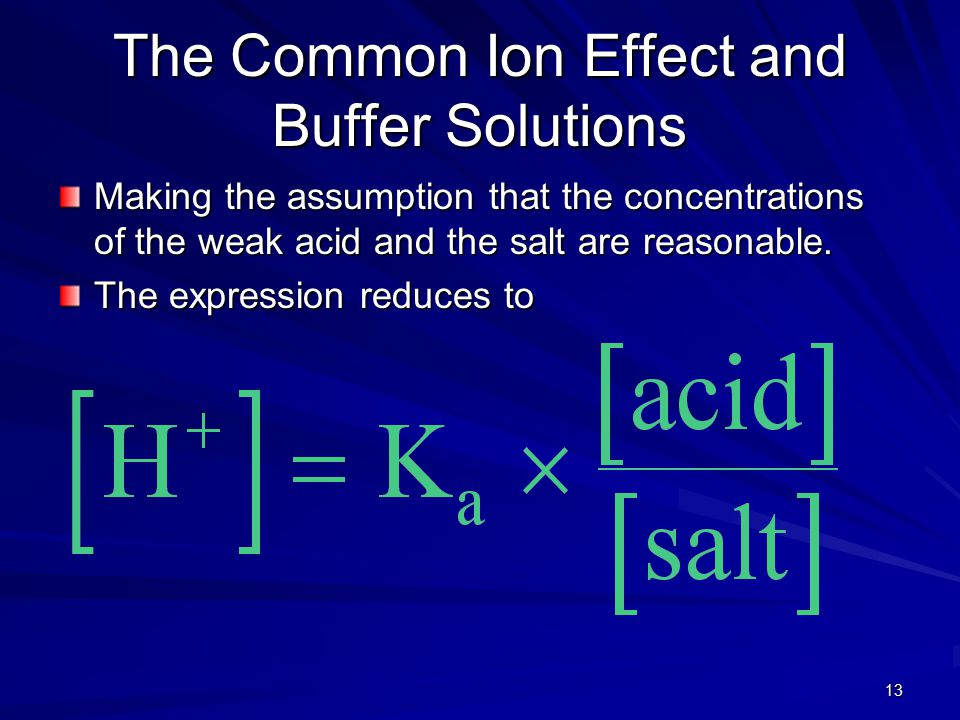13 The Common Ion Effect and Buffer Solutions Making the assumption that the concentrations of the weak acid and the salt are reasonable. The expressi