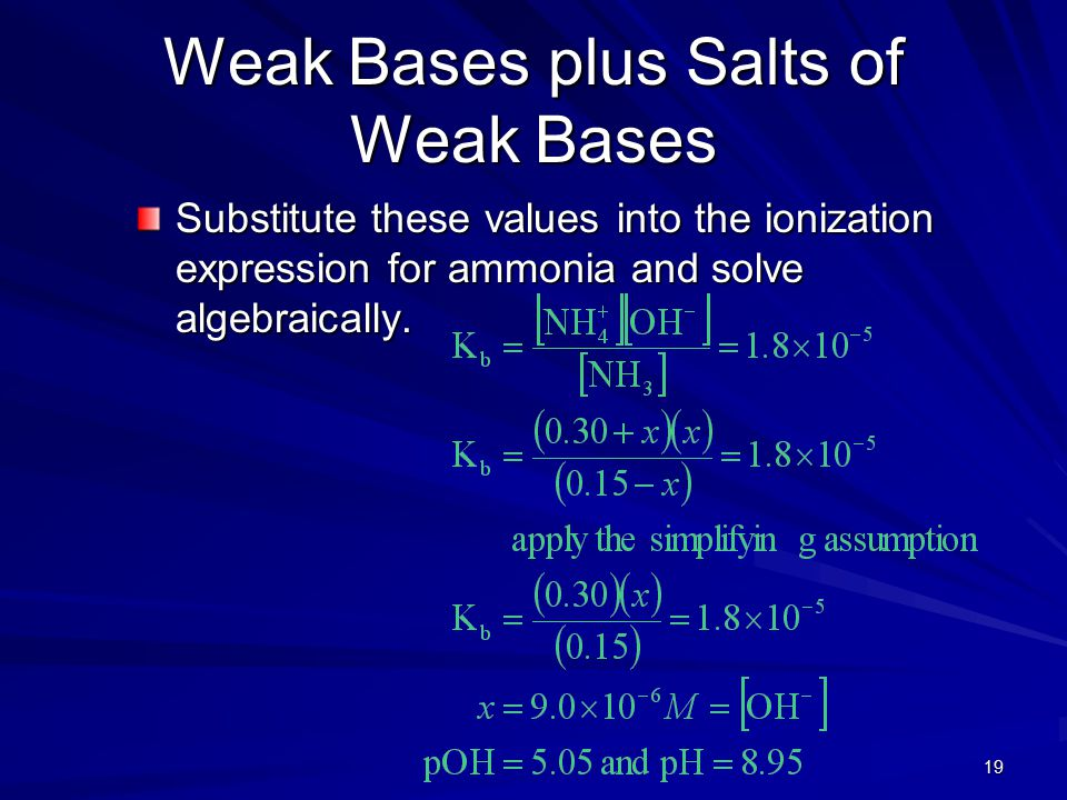19 Weak Bases plus Salts of Weak Bases Substitute these values into the ionization expression for ammonia and solve algebraically.