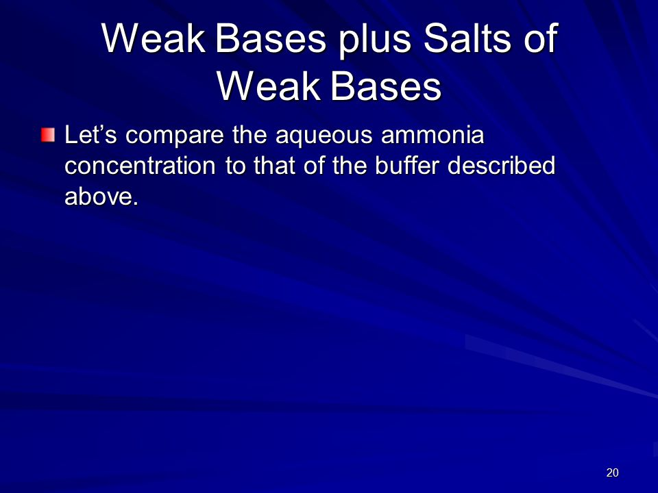 20 Weak Bases plus Salts of Weak Bases Let's compare the aqueous ammonia concentration to that of the buffer described above.