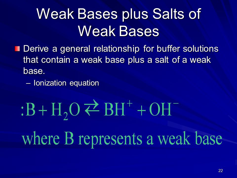 22 Weak Bases plus Salts of Weak Bases Derive a general relationship for buffer solutions that contain a weak base plus a salt of a weak base.