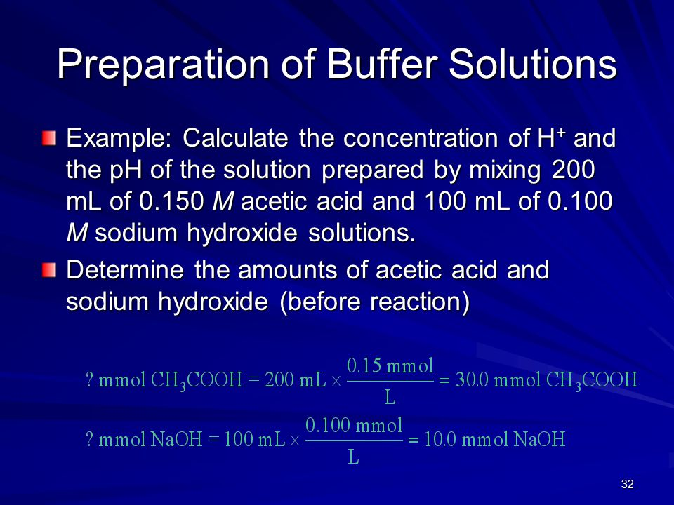 32 Preparation of Buffer Solutions Example: Calculate the concentration of H + and the pH of the solution prepared by mixing 200 mL of 0.150 M acetic acid and 100 mL of 0.100 M sodium hydroxide solutions.