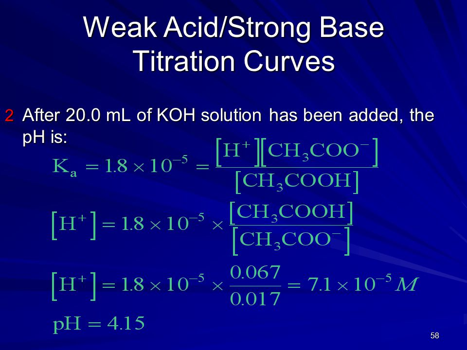 58 Weak Acid/Strong Base Titration Curves 2 After 20.0 mL of KOH solution has been added, the pH is: