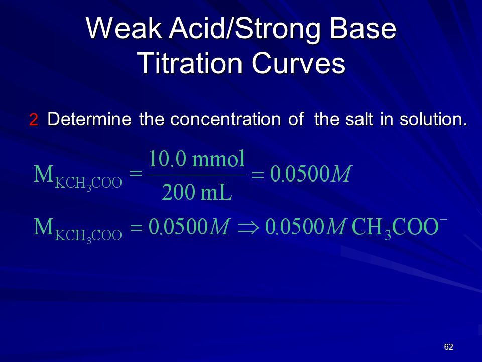 62 Weak Acid/Strong Base Titration Curves 2 Determine the concentration of the salt in solution.