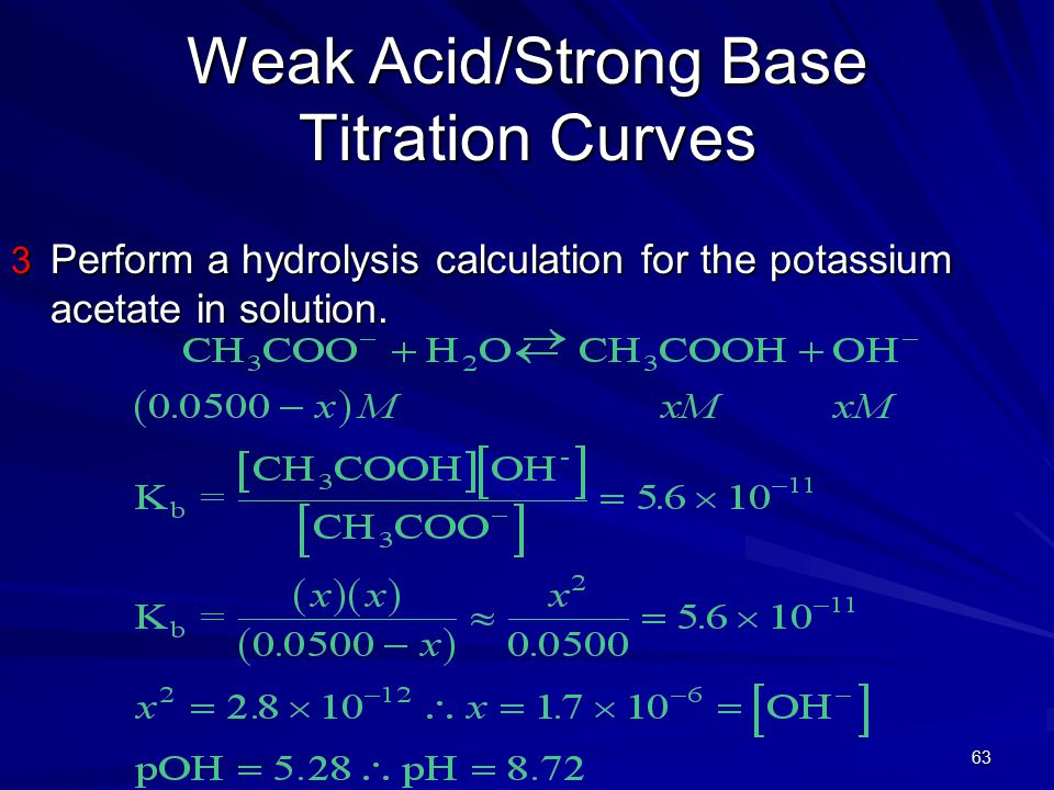 63 Weak Acid/Strong Base Titration Curves 3 Perform a hydrolysis calculation for the potassium acetate in solution.