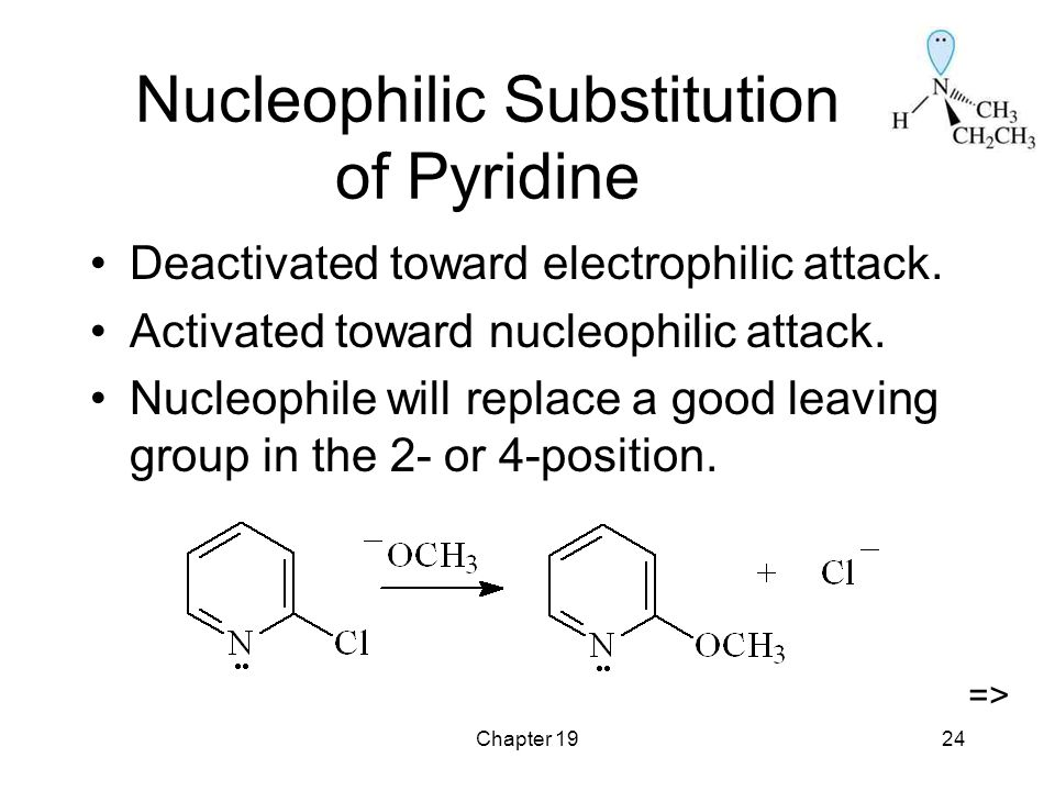 Chapter 1924 Nucleophilic Substitution of Pyridine Deactivated toward electrophilic attack.