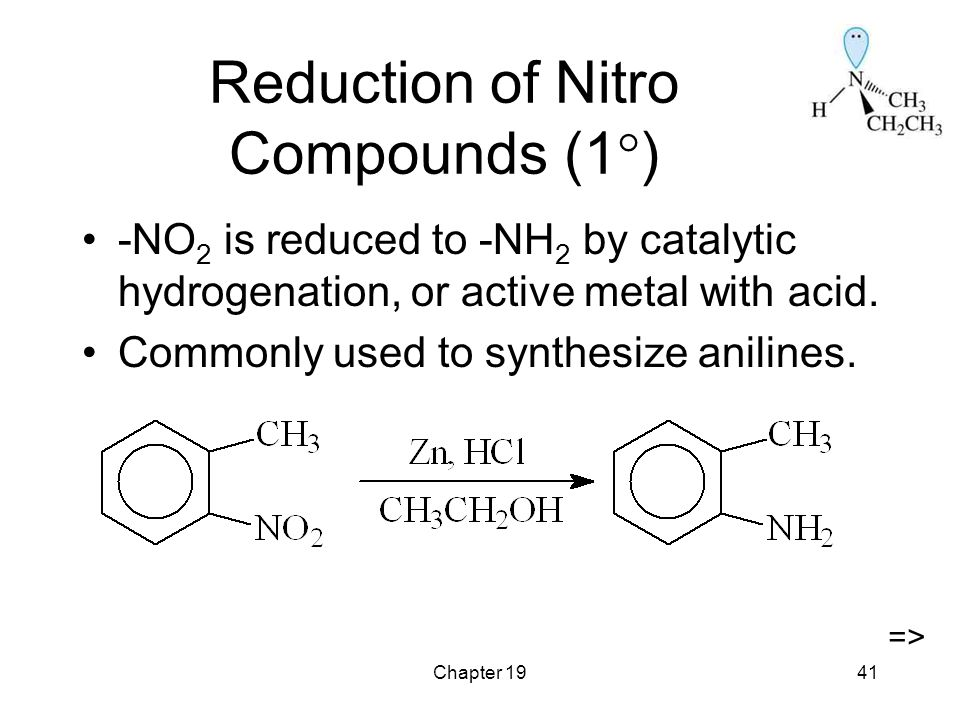 Chapter 1941 Reduction of Nitro Compounds (1  ) -NO 2 is reduced to -NH 2 by catalytic hydrogenation, or active metal with acid.