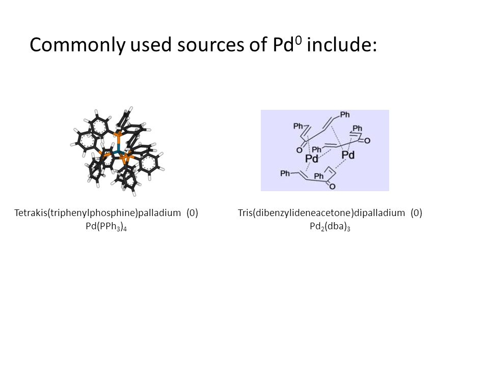 Commonly used sources of Pd 0 include: Tris(dibenzylideneacetone)dipalladium (0) Pd 2 (dba) 3 Tetrakis(triphenylphosphine)palladium (0) Pd(PPh 3 ) 4