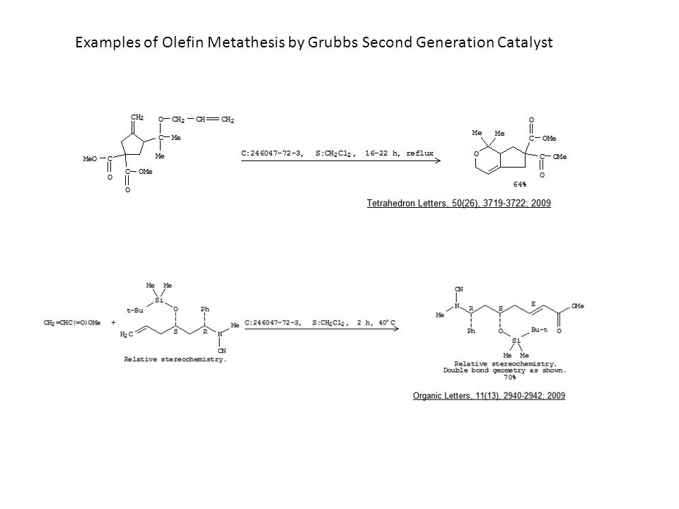 Examples of Olefin Metathesis by Grubbs Second Generation Catalyst