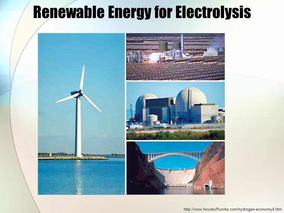 Renewable Energy for Electrolysis http://www.howstuffworks.com/hydrogen-economy4.htm