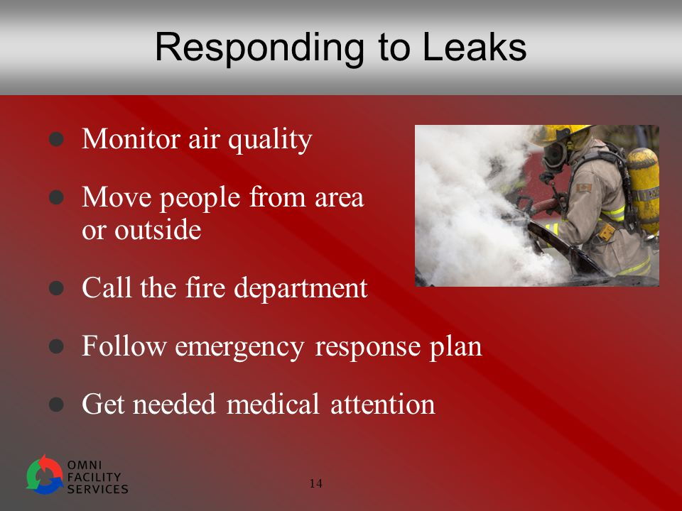 14 Responding to Leaks Monitor air quality Move people from area or outside Call the fire department Follow emergency response plan Get needed medical attention