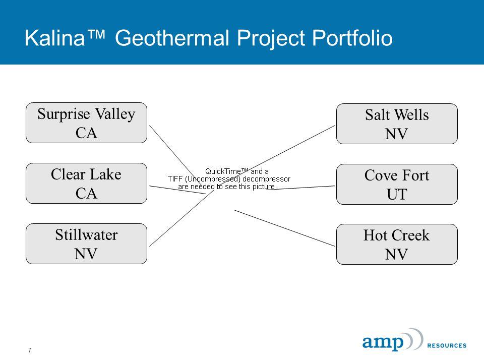 7 Kalina™ Geothermal Project Portfolio Surprise Valley CA Clear Lake CA Stillwater NV Salt Wells NV Hot Creek NV Cove Fort UT