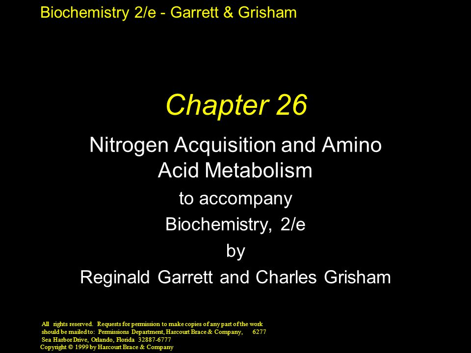 Biochemistry 2/e - Garrett & Grisham Copyright © 1999 by Harcourt Brace & Company The Urea Cycle N and C in the guanidino group of Arg come from NH 4 +, HCO 3 - (carbamoyl-P), and the  -NH 2 of Glu and Asp Breakdown of Arg in the urea cycle releases two N and one C as urea Important N excretion mechanism in livers of terrestrial vertebrates Urea cycle is linked to TCA by fumarate
