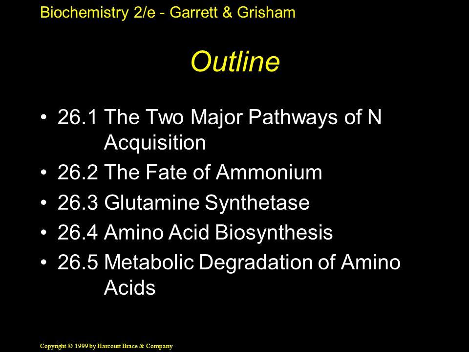 Biochemistry 2/e - Garrett & Grisham Copyright © 1999 by Harcourt Brace & Company Outline 26.1 The Two Major Pathways of N Acquisition 26.2 The Fate of Ammonium 26.3 Glutamine Synthetase 26.4 Amino Acid Biosynthesis 26.5 Metabolic Degradation of Amino Acids
