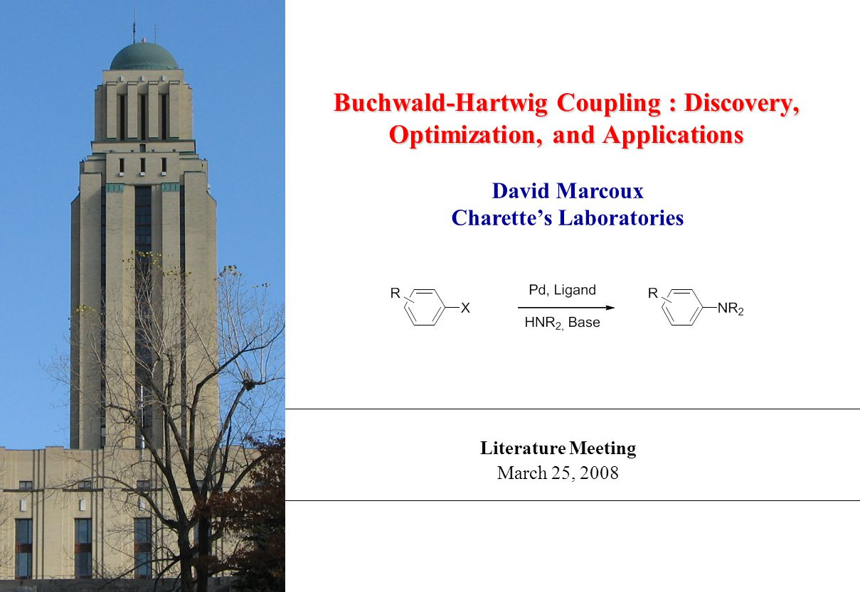 Literature Meeting March 25, 2008 Buchwald-Hartwig Coupling : Discovery, Optimization, and Applications David Marcoux Charette's Laboratories