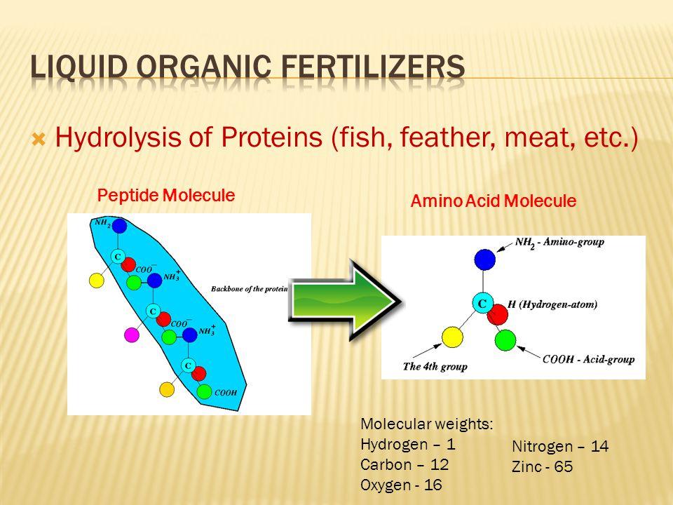  Hydrolysis of Proteins (fish, feather, meat, etc.) Peptide Molecule Amino Acid Molecule Molecular weights: Hydrogen – 1 Carbon – 12 Oxygen - 16 Nitr