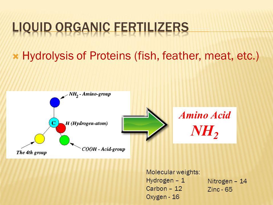  Hydrolysis of Proteins (fish, feather, meat, etc.) Amino Acid NH 2 Molecular weights: Hydrogen – 1 Carbon – 12 Oxygen - 16 Nitrogen – 14 Zinc - 65