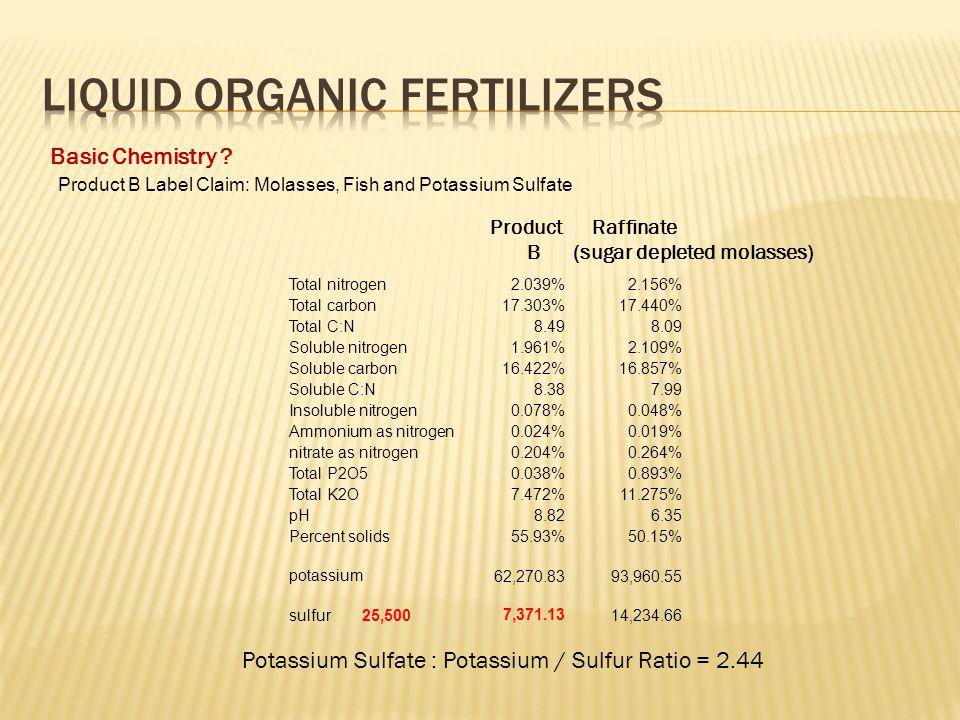 Basic Chemistry ? Product Raffinate B (sugar depleted molasses) Potassium Sulfate : Potassium / Sulfur Ratio = 2.44 Total nitrogen2.039%2.156% Total c