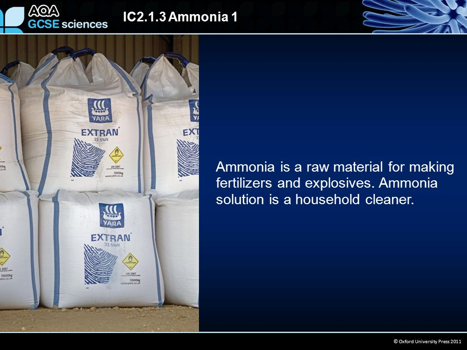 IC2.1.3 Ammonia 1 © Oxford University Press 2011 Ammonia is a raw material for making fertilizers and explosives. Ammonia solution is a household clea