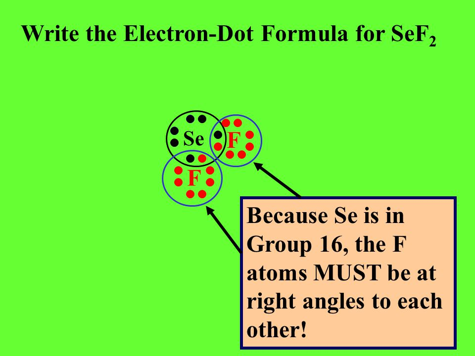 Write the Electron-Dot Formula for SeF 2 Se F F Because Se is in Group 16, the F atoms MUST be at right angles to each other!