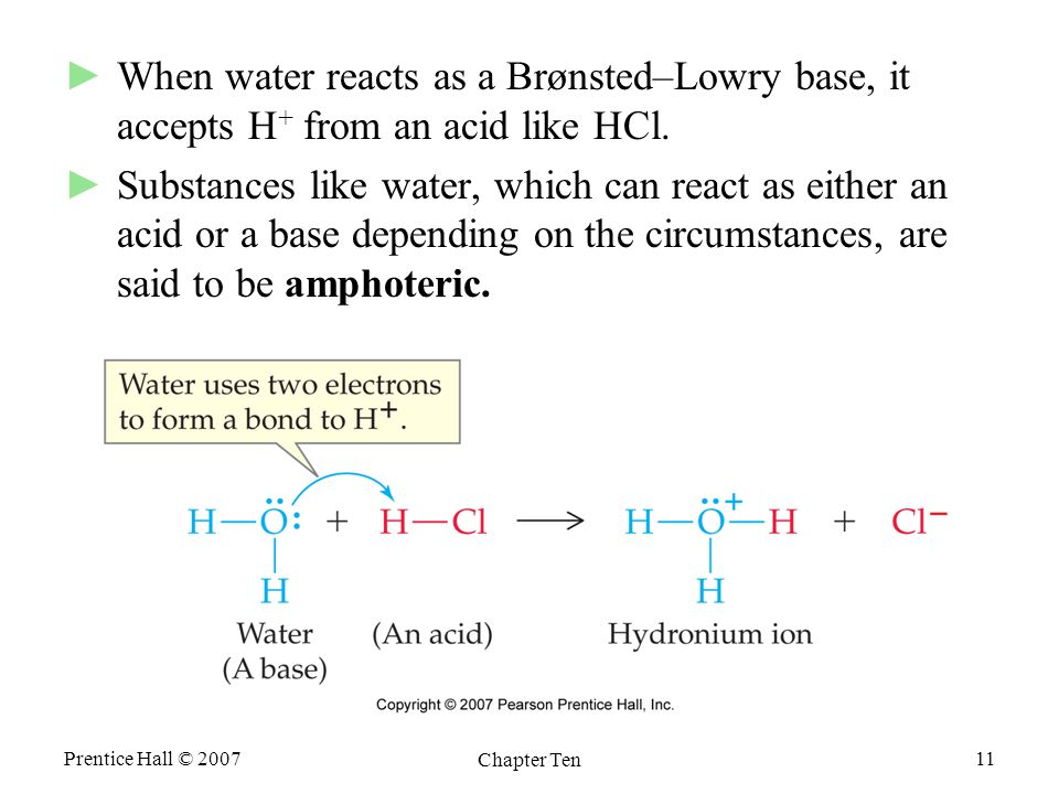 Prentice Hall © 2007 Chapter Ten 11 ►When water reacts as a Brønsted–Lowry base, it accepts H + from an acid like HCl.