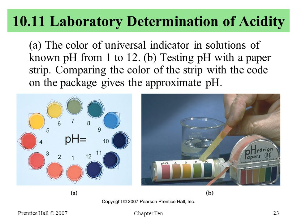 Prentice Hall © 2007 Chapter Ten 23 10.11 Laboratory Determination of Acidity (a) The color of universal indicator in solutions of known pH from 1 to 12.