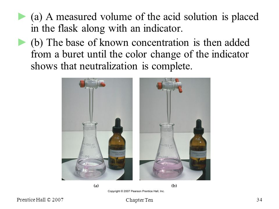 Prentice Hall © 2007 Chapter Ten 34 ►(a) A measured volume of the acid solution is placed in the flask along with an indicator.
