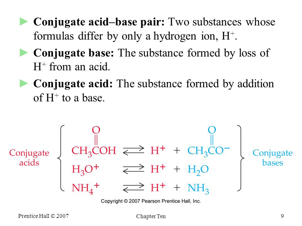 Prentice Hall © 2007 Chapter Ten 9 ►Conjugate acid–base pair: Two substances whose formulas differ by only a hydrogen ion, H +.