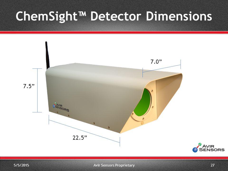 "7.0"" 5/5/2015Avir Sensors Proprietary27 7.5"" 22.5"" ChemSight™ Detector Dimensions"