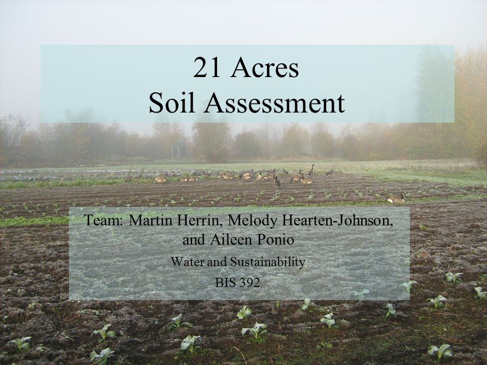 21 Acres Soil Assessment Team: Martin Herrin, Melody Hearten-Johnson, and Aileen Ponio Water and Sustainability BIS 392
