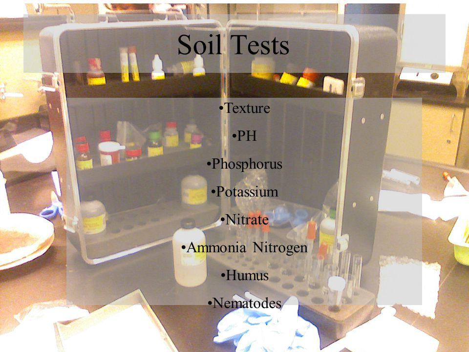 Soil Tests Texture PH Phosphorus Potassium Nitrate Ammonia Nitrogen Humus Nematodes