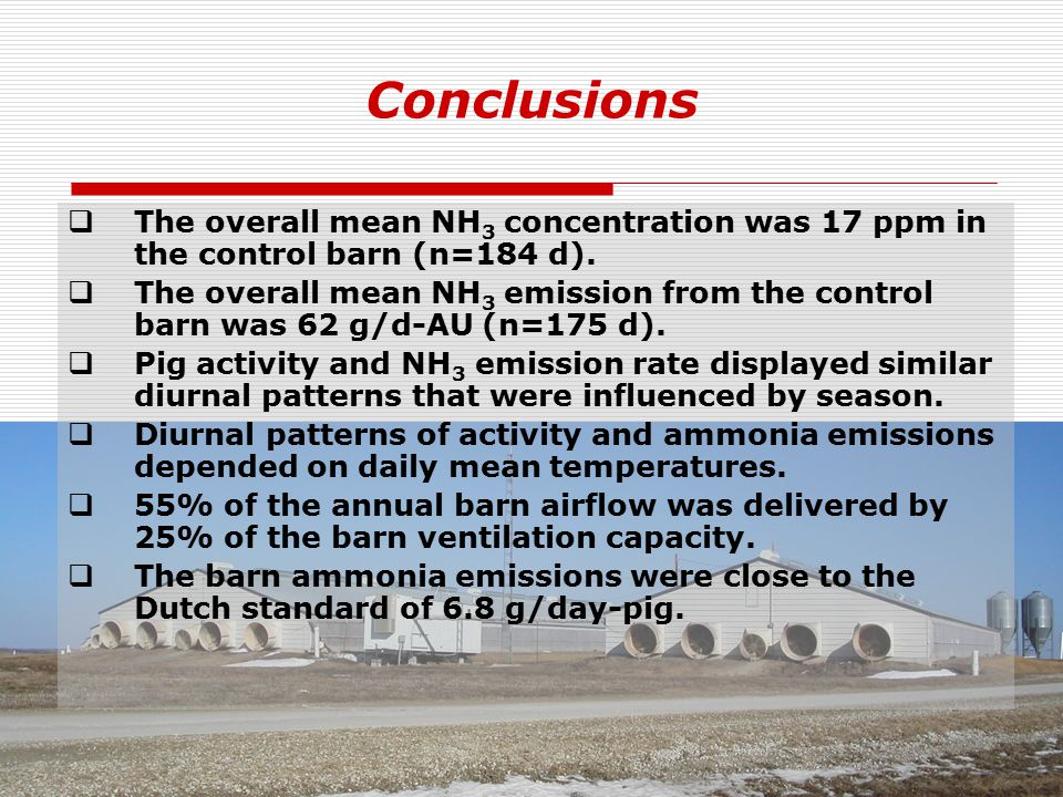 Conclusions  The overall mean NH 3 concentration was 17 ppm in the control barn (n=184 d).
