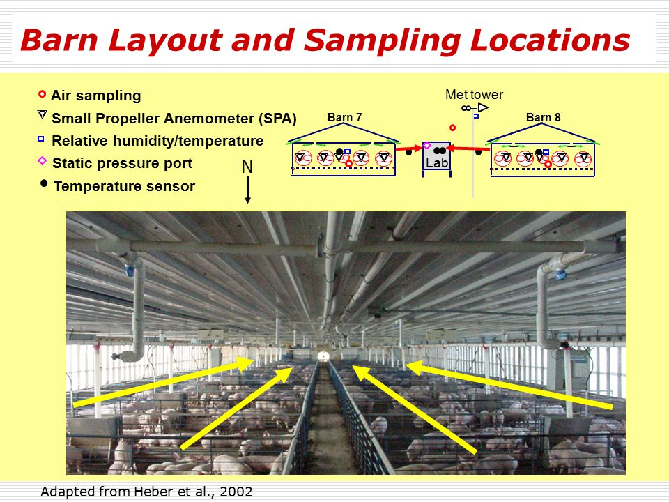 Barn Layout and Sampling Locations Lab Met tower Relative humidity/temperature Air sampling Static pressure port Temperature sensor Barn 7Barn 8 N 3 1 5 Fan stage # Summer air inlets 4 2 Floor plan (61 m x 13.2 m) Instrument shelter Small Propeller Anemometer (SPA) Adapted from Heber et al., 2002 Shallow pit with recycle flush Attic PensDiffusers Background air sampling Exhaust air 80% full of pigs 1-5