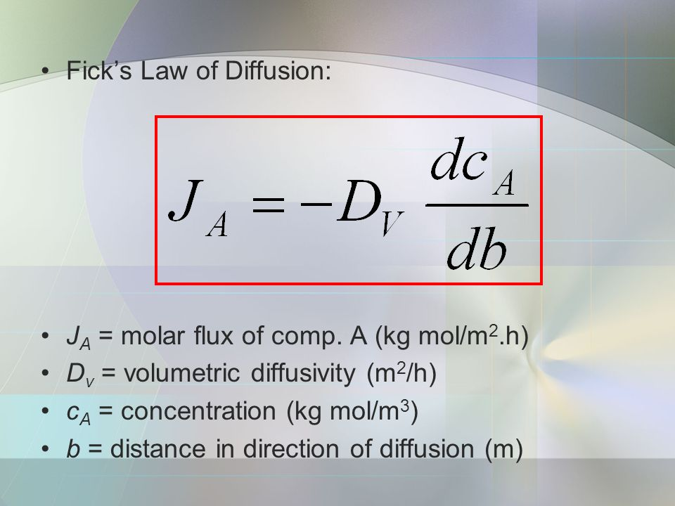 Fick's Law of Diffusion: J A = molar flux of comp.
