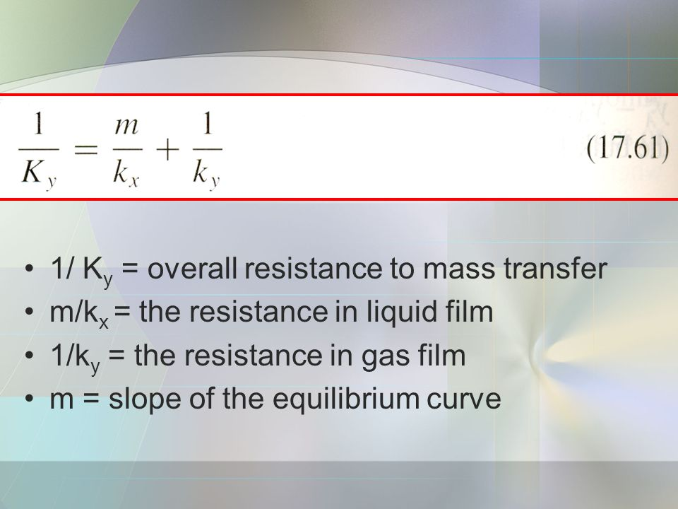 1/ K y = overall resistance to mass transfer m/k x = the resistance in liquid film 1/k y = the resistance in gas film m = slope of the equilibrium curve