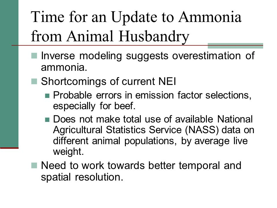 Time for an Update to Ammonia from Animal Husbandry, cont.